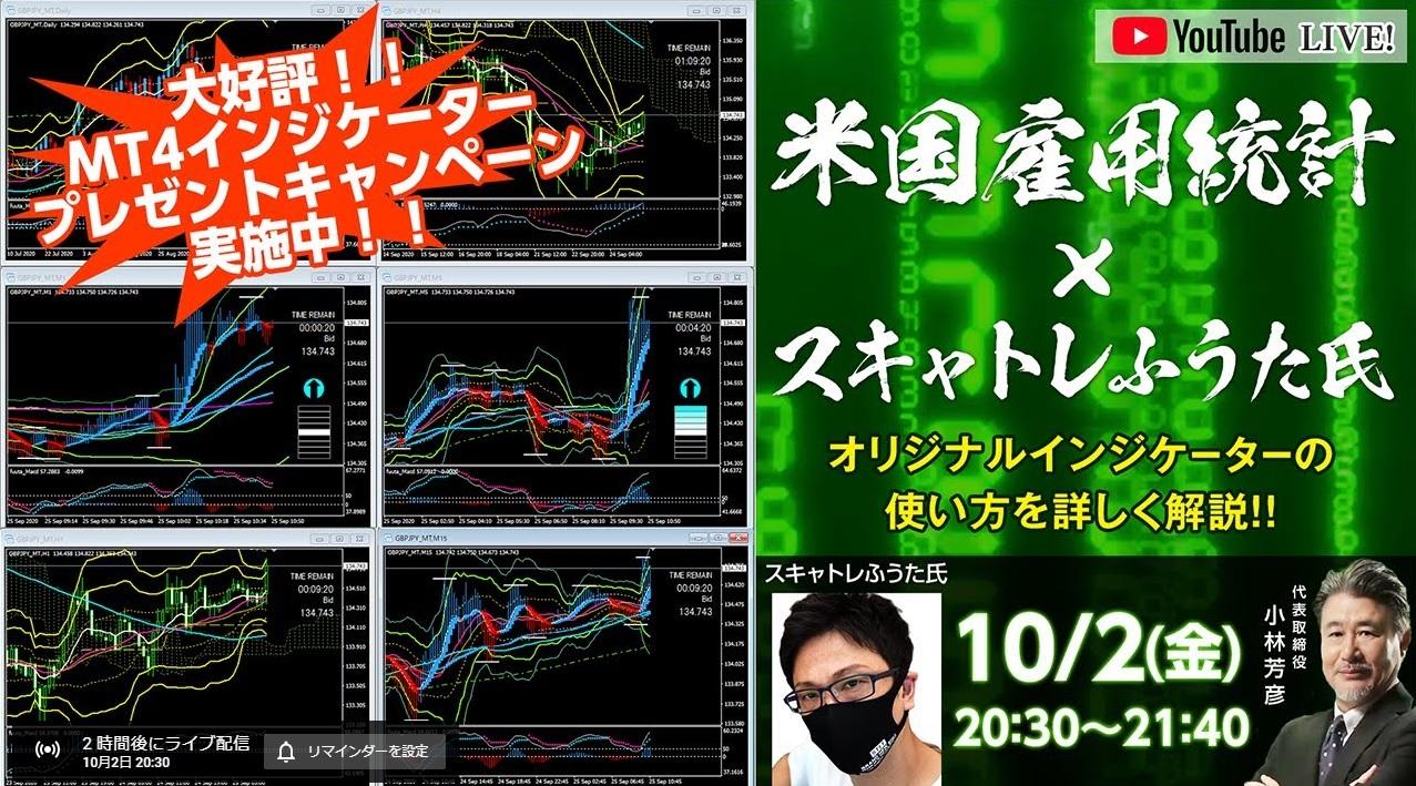 今夜(2020年10月2日(金))米雇用統計Live!20:30~21:40